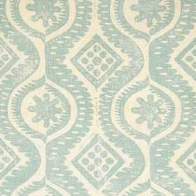 Damask - Aqua - Diamonds, dots, wavy lines and patterns printed in light blue and cream colours on 100% linen fabric