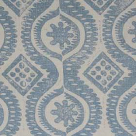 Damask - Blue - Pale grey and light denim blue colours making up a design of diamonds, dots, wavy lines and patterns on 100% linen fabric