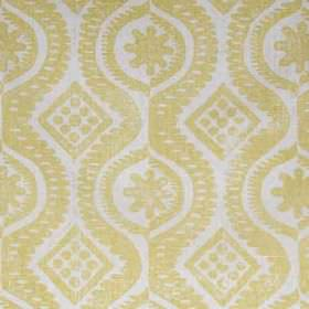 Damask - Yellow - Fabric made from 100% linen in light shades of grey and gold, printed with patterns, wavy lines, dots and simple diamonds