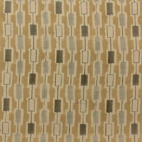 Elmont - Beige Grey - Biscuit and putty coloured 100% linen fabric patterned with rows of small solid & hollow rectangles in light & dark gr