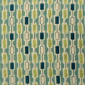 Elmont - Jade Lime - 100% linen fabric printed with rows of solid and hollow rectangles in cream, teal, dark marine blue and lime green
