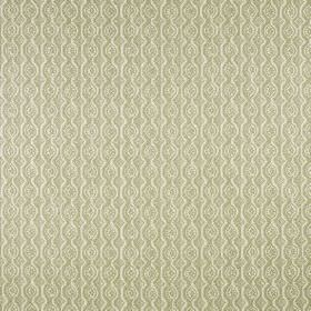 Small Damask - Green On Natural - Fabric made from a putty coloured blend of linen and polyamide, patterned with rows of small circles and w