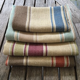 Le Chevalier Stripe - Russet Mole - Vertically striped fabric blended from linen and viscose in natural shades such asgrey, cream-beige and