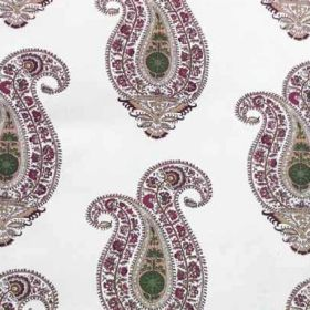 Leela - Amethyst Jade - White 100% linen fabric with a repeated design of purple, grey and green ornately patterned paisley style shapes
