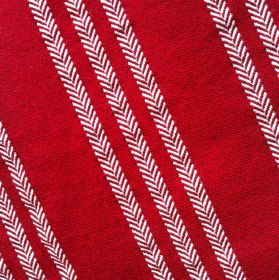 Leonora Stripe - Wine - Trios of stripes formed by rows of small white chevrons running down bright tomato red coloured fabric