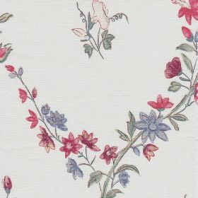 Molly Megan - Cranberry - Small flowers in light shades of pink and blue printed individually and in rows with green flowers on white linen