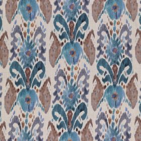 Pandora - Blue Brown - Abstract patterns printed repeatedly in brown and bright shads of blue over white fabric made entirely from linen