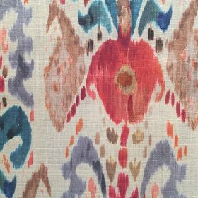 Pandora - Red Blue - Watercolor pattern in pink, blue, and brown on a white linen background