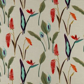 Phoenix - Multi - Fiery orange and icy blue exotic flowers withforest green coloured leaves scattered over light grey 100% linen fabric