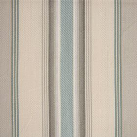 Pinnata Stripe - Blue Smoke - Cool striped 100% cotton fabric with stylish, vertical lines in light shades of grey, cream and duck egg blue