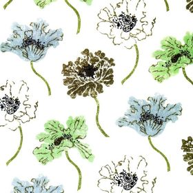Poppy - Blue Green White - Floral patterned linen, cotton and polyamide blend fabric with a repeated design in white, khaki, light blue and