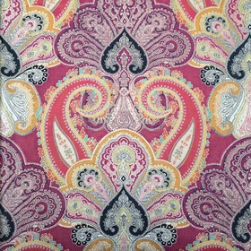 Quercy - Multi - 100% cotton velvet fabric with a very ornate, detailed, intricate pattern in warm shades of orange, pink, grey and gold