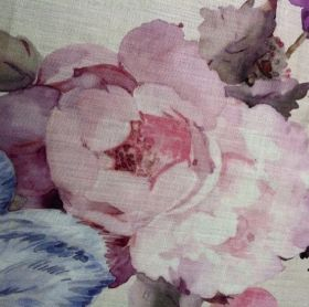 Rosetta - Old Rose - Realistic flowers shaded in blue, grey, purple and light pink on a pale grey 100% linen fabric background