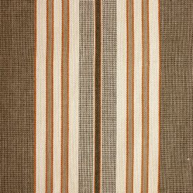 Sing Song - Pewter - Vertically striped 100% cotton fabric including bands of white, light grey, forest green and light coffee brown