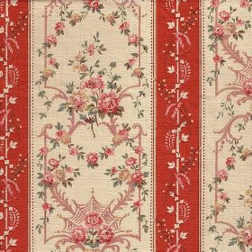 Sophia Stripe - Red - Pink and green vintage style florals and frames on cream, with cream and dark orange patterned stripes on 100% cotton fabr