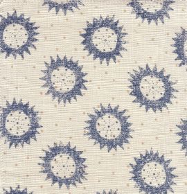 Star - Blue Cream - Denim blue coloured sun shapes with white circles in the middle, scattered over dotted white fabric made from 100% linen