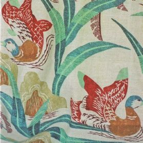 Susah - Red - 100% linen fabric in off-white, printed with a bright, multicoloured design of ducks, fish, leaves and rocks