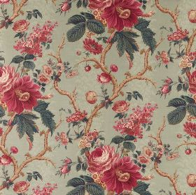 Aquitaine - Aqua - Floral patterned cotton fabric with realistic dark pink flowers, brown branches &blue-grey leaves on a pale background