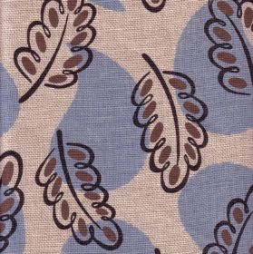 Woodland - Blue - Pale grey 100% linen fabric with light blue water droplet shapes and acorn leaves which are dotted and outlined in black