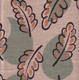 Woodland - Green - Pink-beige dots in dark grey acorn leaf outlines on 100% linen fabric in pale pink with light blue water droplet shapes