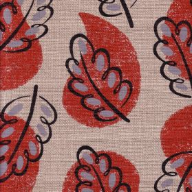 Woodland - Red - Dotted acorn leaves and water droplet shapes printed on 100% linen fabric indark orange, dark grey and two pale greys