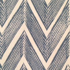 Zig Zag - Blue Cream - Navy blue zigzag motif on ivory linen fabric