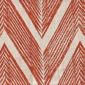 Zig Zag - Paprika Cream - Large striped orange chevron-style zigzags running across off-white coloured fabric made from 100% linen