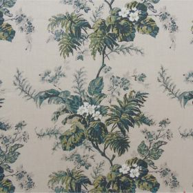 Almere - Green - Large floral patterns on 100% linen fabric inlight and dark shades of grey, dark forest green, cream and teal