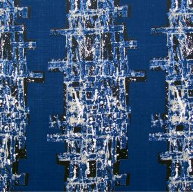 Manhattan - Indigo - Small, random patches of colour covering 100% linen fabric made in white, black and bright Royal blue