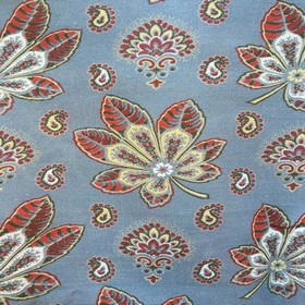 Araminta - China Blue - Oriental-inspired design on fabric made out of cotton and linen