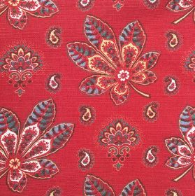 Araminta - Garnet - Cotton and linen fabric dominated by red background and floral design