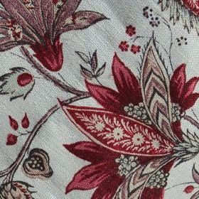 Jaffna - Red Green - Elegant, patterned leafy floral designs made in deep shades of red and grey on very pale grey-white 100% linen fabric