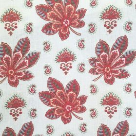 Araminta - Ivory - Red floral pattern on baby blue fabric out of cotton and linen
