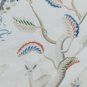Richmond - Multi on White - 100% linen fabric in white, printed with deer and branches in pale grey shades, and rich blue, orange and green