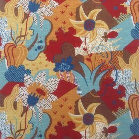 California Garden - Jade Brown Multi - Colorful garden pattern featuring orange, red and brown flowers on fabric made out of linen