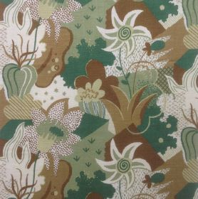 California Garden - Forest Green - Fabric made out of linen decorated with a garden motif featuring flowers and plants in green and brown