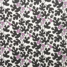 Fig - Plum on White - White fabric made from linen with an interesting design featuring purple figs and black leaves