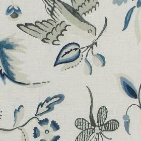 Holyrood - Blue - Beautiful design featuring doves carrying branches with blue flowers on fabric made from linen