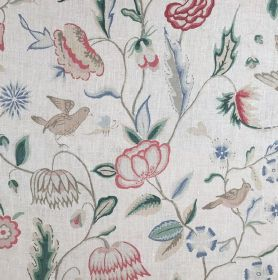 Holyrood - Multi - White fabric made out of linen embellished with natural design featuring red flowers and beige birds