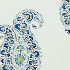 Leela - Sapphire - Design featuring light blue flower outline filled with flowers in royal blue on white fabric made from linen