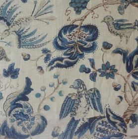 Marown - Blue - Beautiful nature-inspired design featuring blue flowers and birds printed on fabric made out of linen