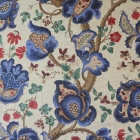 Vale Of Belvoir - Blue - Design featuring brown branches with beautiful purple and red flowers printed on linen fabric