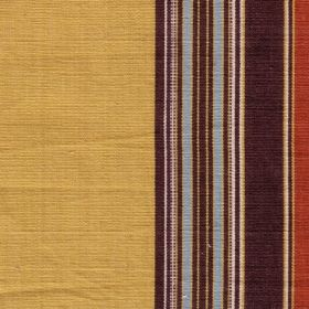Barnaby Stripe - Red Mustard - Golden honey, dark aubergine, white, grass green, ice blue and terracotta coloured striped 100% cotton fabric