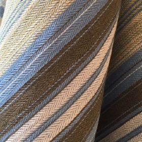 Maria Stripe - Bluebell Bark - Blue fabric made out of jute and cotton decorated with threaded stripe pattern in brown and beige