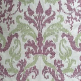 Renaissance - Lime Rose - Renaissance-inspired floral design in lime and purple on white fabric made out of cotton and flax