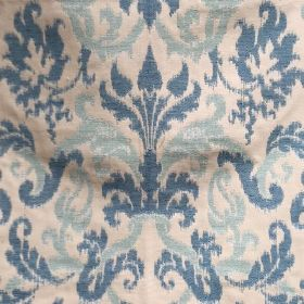 Renaissance - Opal Blue - Fabric made from cotton and flax in white featuring dark blue and light blue Renaissance floral motif