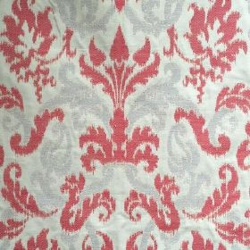 Renaissance - Red Grey - White fabric made out of cotton and flax decorated with Renaissance-inspired floral design