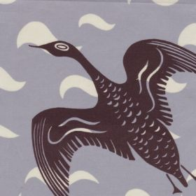 Black Goose - Brown - Stylised flying geese printed in dark purple-grey on pale blue cotton-linen blend fabric withsweeping white clouds