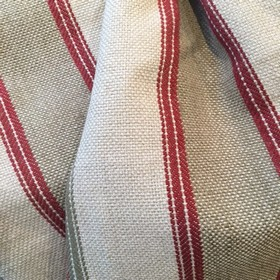 Carmen Stripe - Rose Oatmeal - Striped fabric woven from cotton and jute in white, pillarbox red and steel grey colours