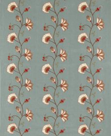 Clementine - Sea Blue - Vertical rows of cream & dark red flowers & leaves connected by curving vines on dusky blue linen-polyester blend fa